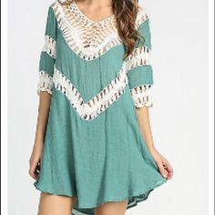 HUGE SALE JADE CROCHET V-NECK TUNIC DRESS  HASSLE-FREE PURCHASES/BUNDLES. SELECT YOUR SIZE TO PURCHASE OR ADD TO BUNDLE. DON'T SEE YOUR SIZE OR YOUR SIZE IS MARKED OUT? THAT MEANS IT'S UNAVAILABLE So cute! A summer must have. Runs true to size. 55%cotton. 45% polyester. No modeling. No trades. Dresses Mini