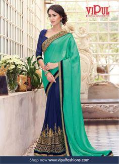 http://www.vipulfashions.com/embroidery-sarees/siyaa-green-satin-embroidered-saree-v3514.html #VipulFashions #FashionForever #Fashion #EmbroiderySari #Saree #Sari #BlueSari