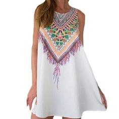 c03213a63301 Fashion Women Summer Dress Casual Bohemian Tank Mini Dress