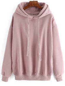 Hooded Drawstring Loose Pink Sweatshirt