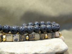 Mens Beaded Bracelet Mens Style Jewelry by StoneWearDesigns