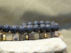 Mens Beaded Bracelet Mens Style Jewelry by StoneWearDesigns