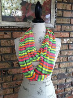 Brightly Striped Infinity Scarf, Circle Scarf, Chunky Scarf on Etsy, $17.00