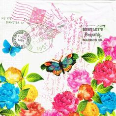 Decoupage servilletas 4 piezas primavera letra por LanternsByTamara