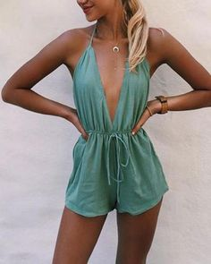Shop Solid Solid Deep V-Neck Halter Romper without Necklace online!❤️Get outfit ideas & style inspiration from fashion designers at Ad… Outfits Casual, Cute Outfits, Cute Vacation Outfits, Short Outfits, Girl Outfits, Look Fashion, Womens Fashion, Fashion Trends, Paris Fashion