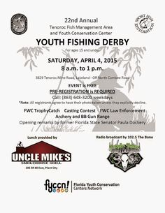 22nd Annual Tenoroc Youth Fishing Derby Sat., April 4th at #Tenoroc #Fish Management Area in Lakeland, Florida!  MyFWC - Google+ 2015