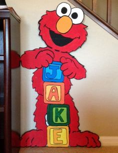 Elmo loves Jake! Elmo loves your child too!! I can paint a special personalized Elmo for your child's next party or to hang in their room. Check out my etsy shop, prettypartiesndpaint, for this and other character paintings. I promise your child will smile at the sight of my 4ft characters.