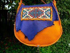 Beaded Deerskin Leather Purse - Native American Loom beading, OOAK Cross Body, Cell Pocket, Unique Bag Tribal, Boho Primitive Medicine Style on Etsy, $223.86 CAD