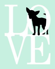 Chihuahua Art Print - ANY COLOR 8x10 Puppy Love Dog Silhouette Print for Pet Lovers, Pink. $18.00, via Etsy.
