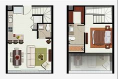 Qbo Loft Tipo E layout perfecto Tiny House Cabin, Loft House, Sims House, Small House Plans, House Floor Plans, Apartment Layout, Apartment Plans, Tiny Loft, Floor Plan Layout