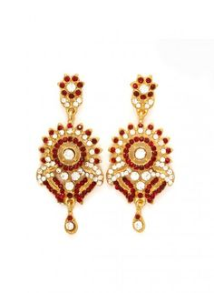 Red Earrings with Austrian Diamonds
