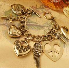 Fashion Heart Vintage Cross Charms Bracelets