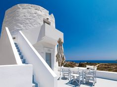 The Windmill Hotel is a stunning getaway located on Kimolos, an island in the Aegean Sea, in Greece. The Windmill Hotel, on the tiny volcanic island of Kim Greece Today, Mykonos Villas, Lake Villa, Greece Hotels, Small Luxury Hotels, Beautiful Villas, Vacation Places, A Boutique, Pictures