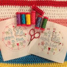 Two down. Which one do ya like best? Now to finish the projects. #gailpandesigns #gailpan #aurifil #red #scissors #embroidery #daisycottagequilting