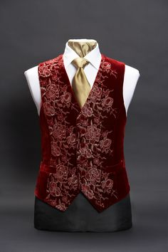 Image detail for -. and gold velvet roses embroidered waistcoat Gold silk tie Double Breasted Waistcoat, Men's Waistcoat, Wedding Waistcoats, Burgundy And Gold, Mens Fashion Suits, Embroidered Silk, Gentleman Style, High Fashion, Gothic Fashion