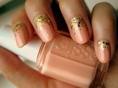 Peach and gold nails ...