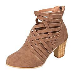 Coloré Femme Mode Escarpins Noir Escarpins (TM) Rome zipper avec des bottes  à talons hauts (40 Brown) 11358ecba9fd