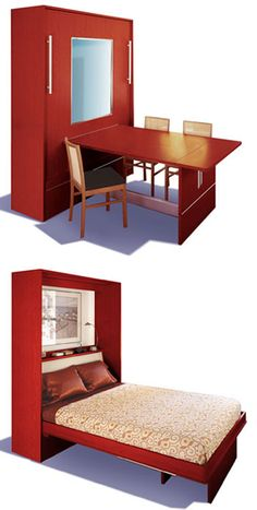 really like this Murphy Bed idea for the guest room/craft room, work desk by day, Guest bed when needed! Space Saving Furniture, Diy Furniture, House Furniture, Murphy-bett Ikea, Murphy Bed Plans, Murphy Beds, Murphy Bed Desk, Guest Bed, Guest Rooms