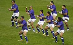 samoan rugby players | On the war path: Samoa rugby players perform their version of the haka ...