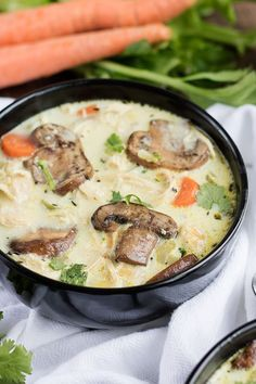Creamy Chicken Mushroom Soup - Beautiful creamy mushroom soup with shredded chicken, fresh mushrooms, and carrots that is sure to fill you up!