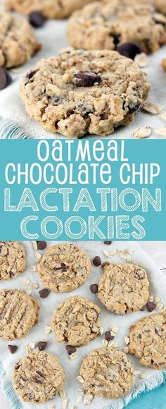 Oatmeal Chocolate Chip Lactation Cookies: bake up a batch of these delicious galactagogue-filled treats to boost milk supply for the breastfeeding moms in your life. Chocolate Chip Cookies, Chocolate Chip Oatmeal, Oatmeal Cookies, Chocolate Chips, Chocolate Muffins, Baby Food Recipes, Dessert Recipes, Desserts, Recipes Dinner