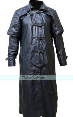 X-Large SouthBeachLeather Hugh Jackman Van Helsing Black Leather Long Trench Coat