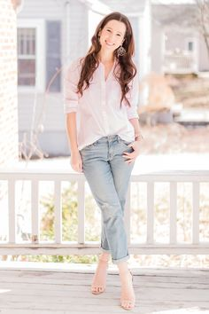 How to Wear Girlfriend Jeans: Casual Girlfriend Jeans Outfit Trendy Outfits Preppy Outfits, Preppy Style, Jean Outfits, Fashion Outfits, Affordable Clothes, Affordable Fashion, Cute Fashion, Preppy Fashion, Spring Fashion