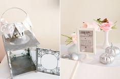 linterna de metal y delicados acentos florales