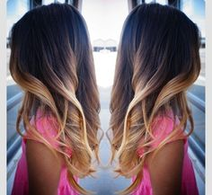 perfect ombre for dark brown/ black hair. wish my hair was long so i could do this!