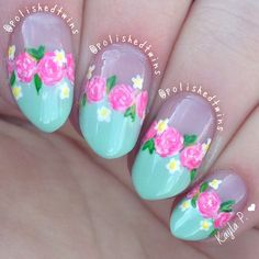 """""""Yay for flower manis I did these using @whatsupnails French tip vinyls!  I love these vinyls so I'm probably going to use them again soon.. But here is what I came up with first☺️ details done with acrylic paints using my pure colour 10 brush also from @whatsupnails! The colour is Revlon """"jaded"""" and I applied two coats."""" Photo taken by @polishedtwins on Instagram, pinned via the InstaPin iOS App! http://www.instapinapp.com (05/19/2015)"""