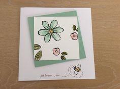 Base 5 3/4 x 5 3/4    Mint macaroon 4 x 4      White  3 1/2 x 3 1/2     SU  Garden in Bloom    Sentiment SU Teeny Tiny