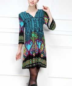 Another great find on #zulily! Black & Turquoise Abstract Notch Neck Dress - Women #zulilyfinds http://www.zulily.com/invite/kripley070