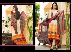 GL-AZ06B 3 Piece lawn suit. Top - Embroidered & printed lawn Pants - Plain lawn fabric Dupatta - Printed Chiffon