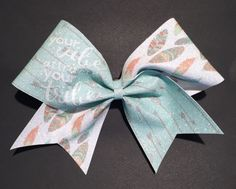 """3in.  Glitter Feather Arrow Cheer Bow with """"your vibe attracts your tribe'"""" by BowsByTeri on Etsy"""