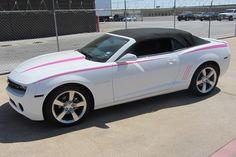 Soft Pink skinny side spears & hood spears on a White Camaro