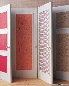 Wallpapered Door Panels  Mimic the look of expensive tapestry on door panels with a much more budget-friendly material -- wallpaper.  This is especially good to do if you have old or damaged doors & don't have the budget to replace them!  Get the How-To