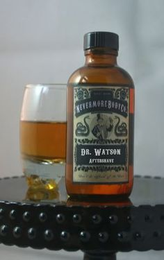 """Dr. Watson's Aftershave.  $14.    """"This perfect blend has top notes of Black Pepper, Lemon, and Violet leaf. Just like Dr. Watson a complex center of Cumin, Coriander, and Ginger, with a bit of jasmine on his top coat and his leather shoes to help you notice him as he walks by. He will leave the rome in a whirlwind of oak moss, Musk, Amber, Apple and Patchouli and thanks to Mr. Holmes a hit of tobacco!"""""""