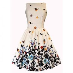Lady V Sweet White Butterfly Tea Dress
