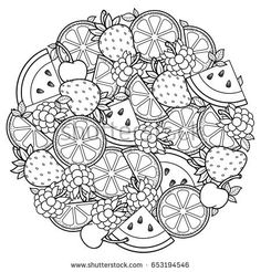 Vector coloring book for adult, for meditation and relax. Round shape of watermelon, strawberries, citrus, cherries and strawberries. Black and white image on a white background of isolated elements - buy this vector on Shutterstock & find other images. Fruit Coloring Pages, Mandala Coloring Pages, Coloring Book Pages, Doodle Coloring, Printable Coloring Pages, Free Coloring, Coloring Sheets, Adult Coloring, Colouring Pages For Adults