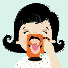Lady drinking tea from a Tigger teacup - love her hair