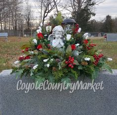 Winter Headstone Saddle With Solar Light-Flowers For Headstone-Grave Decoration-Christmas Grave Flowers-Cemetery Flowers-Headstone Flowers by CoyoteCountryMarket on Etsy Grave Flowers, Cemetery Flowers, Funeral Flowers, Funeral Flower Arrangements, Christmas Arrangements, Floral Arrangements, Christmas Swags, Christmas Decorations, Holiday Decorating