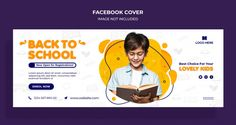 Back to school facebook timeline cover a... | Premium Psd #Freepik #psd Cover Page Template, Facebook Cover Template, Facebook Cover Images, Facebook Timeline Covers, Youtube Banner Design, Web Banner Design, Social Media Banner, Social Media Design, School Template