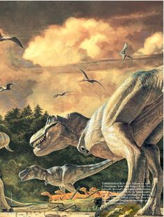 TYRANNOSAURUS REX defends its meal, a Triceratops, from other hungry T. rex. Tro-odontids, the small velociraptors