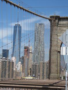 VIEW OF NYC SKYLINE FROM BROOKLYN BRIDGE
