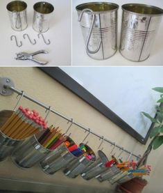DIY Organization : DIY Tin Can Pencil Holders for your kids study desk Really nice idea and design! Tin Can Crafts, Diy Crafts, Garden Crafts, Resin Crafts, Stick Crafts, Upcycled Crafts, Cool Desk Accessories, Bathroom Accessories, Hair Accessories