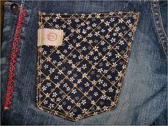 ジーンズカスタム(加工)後ポケット Denim Patchwork, How To Make Clothes, Louis Vuitton Monogram, Needlework, Patches, Boro, My Style, Jeans, Upcycle