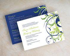 Wedding invitations, swirly vine wedding invitation, victorian wedding stationery, spring, summer, blue and green wedding invitations, Lania. www.appleberryink.com