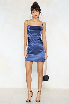 Square Neck Satin Bodycon Mini Dress