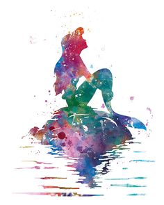 Princess Ariel Art Print Ariel Little Mermaid Watercolor #Princess #Ariel #Art #Print #LittleMermaid #Watercolor #Disney #Poster #Painting #WallArt #Nursery #Gift