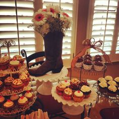 Country bridal shower display with our amazing cupcakes
